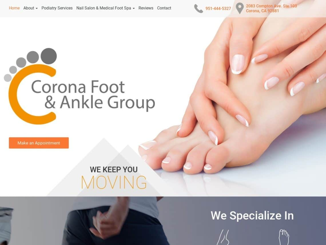 Corona Foot and Ankle Specialist Website Screenshot from url coronafootandankle.com