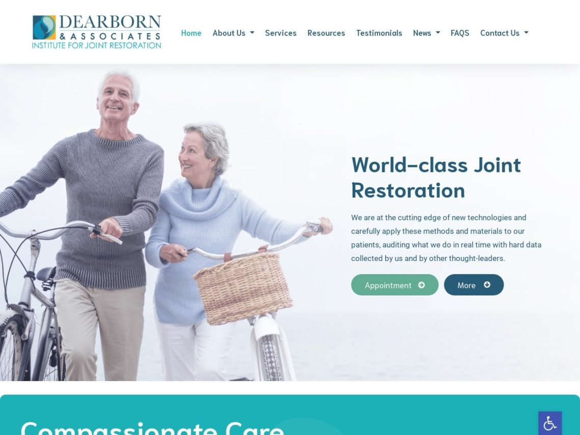 Dearborn Institute For Joint Restoration Website Screenshot from url dearbornassoc.com