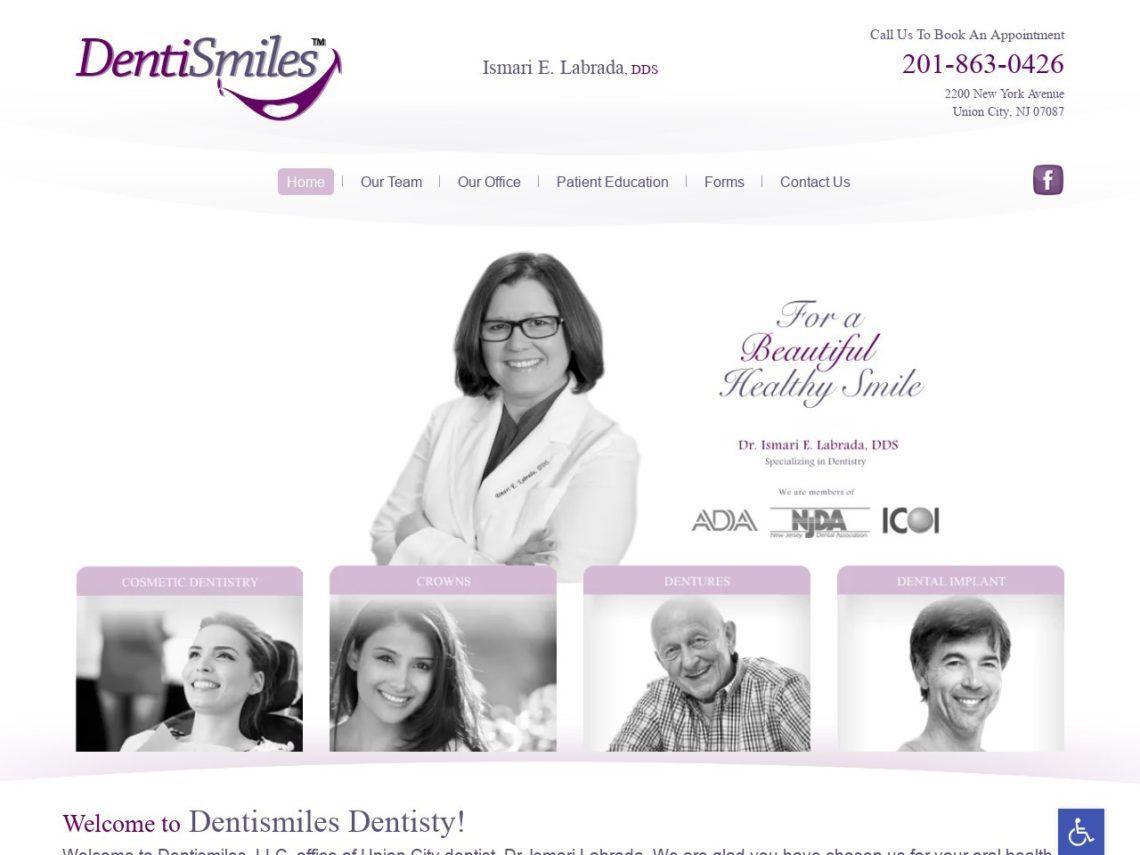 Dentismiles Dentisty Website Screenshot from url dentismiles.com