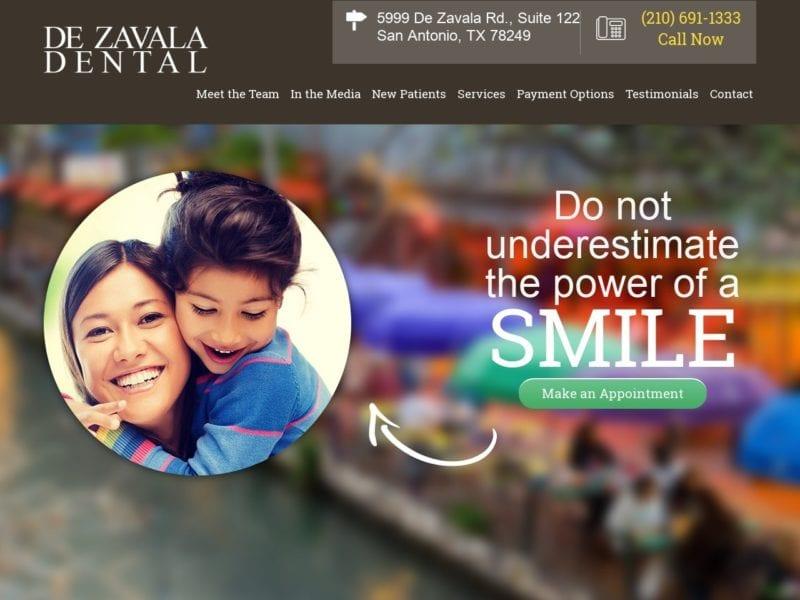 De Zavala Dental Website Screenshot from url dezavala-dental.com