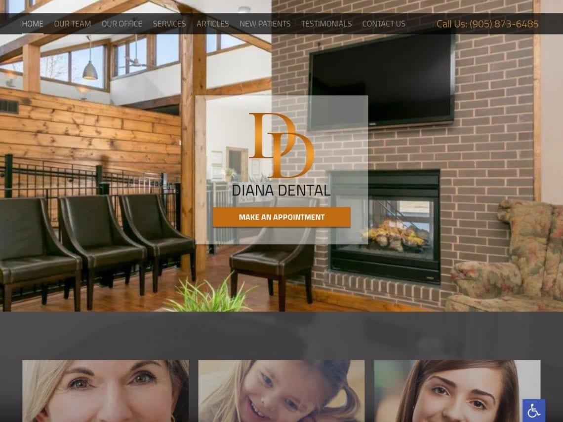 Diana Dental Website Screenshot from url dianadental.ca