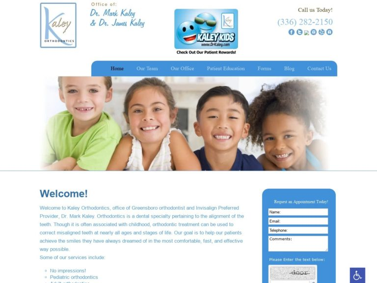 Kaley Orthodontics Website Screenshot from url drkaley.com