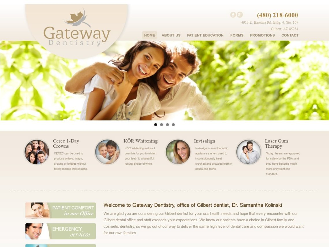 Gateway Dentistry Website Screenshot from url drkolinski.com