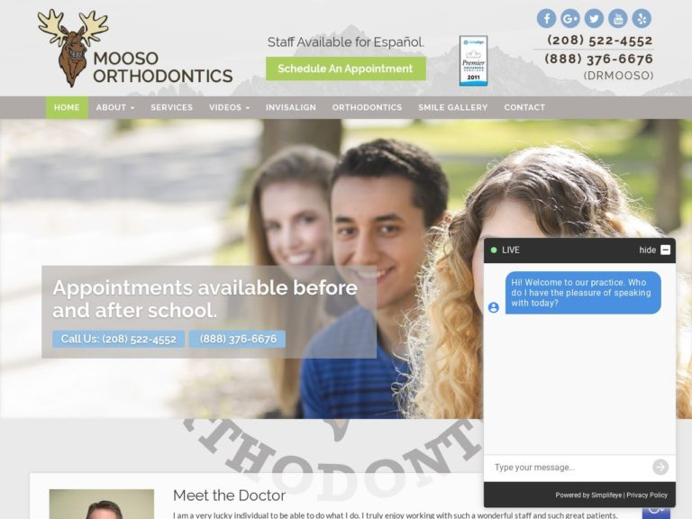 Mooso Orthodontics Website Screenshot from url drmooso.com