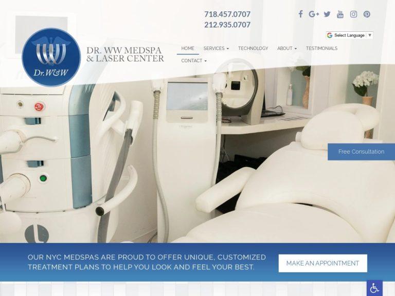 Dr. WW Medspa & Laser Center Website Screenshot from url drwwmedspa.com