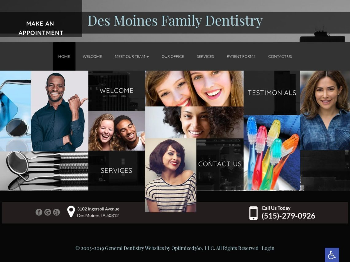 Des Moines Family Dentistry Website Screenshot from url dsmfamilydentistry.com