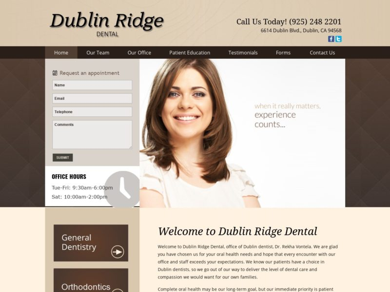 Dublin Ridge Dental Website Screenshot from url dublinridgedental.com