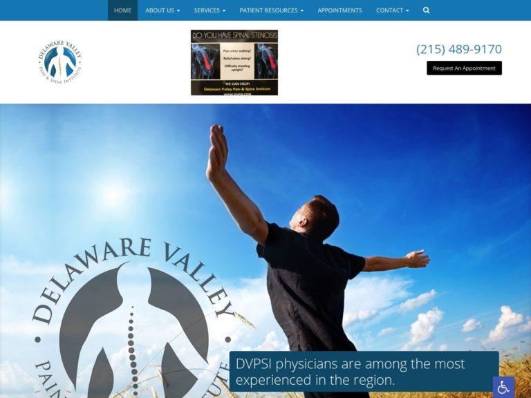 Delaware Valley Pain Website Screenshot from url dvpainandspine.com