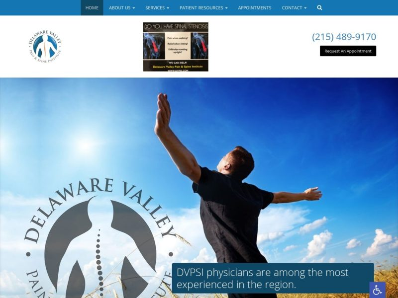 Delaware Valley Pain Website Screenshot from url dvpainandspine.com