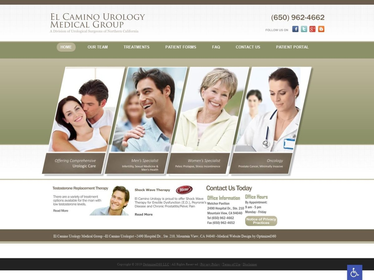El Camino Urology Website Screenshot from url elcaminourology.com