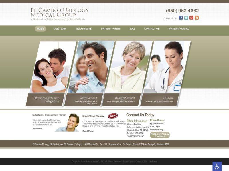 El Camino Urology Website Screenshot from url elcaminourology.com