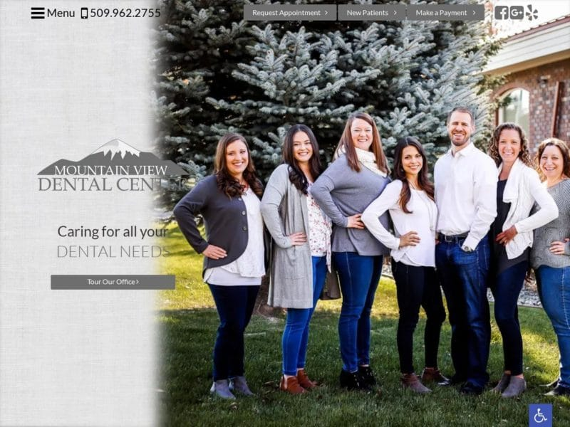 Mountain View Dental Center Website Screenshot from url ellensburgdentist.com