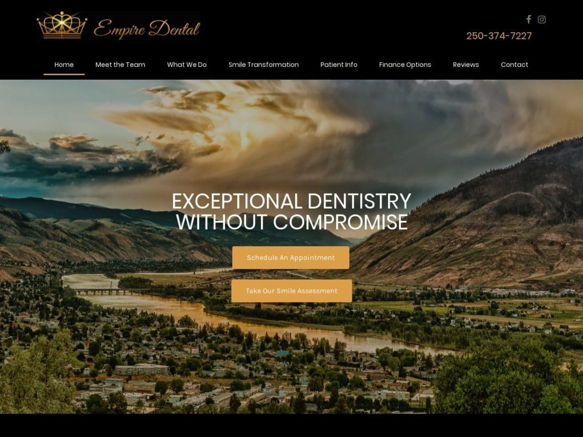 Empire Dental Website Screenshot from url empiredental.ca