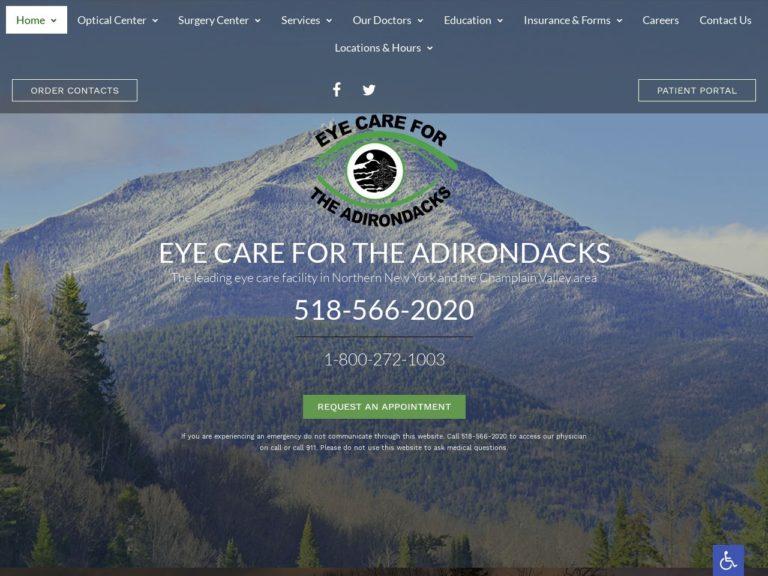 Eye Care for the Adirondacks Website Screenshot from url eyecareadk.com
