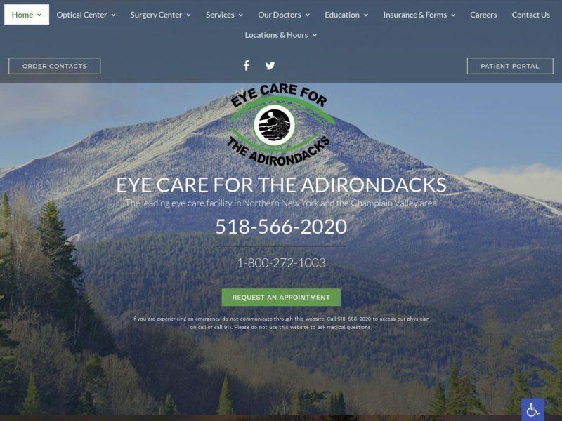 Eye Care for the Adirondacks Website Screenshot from url eyecareadk.com
