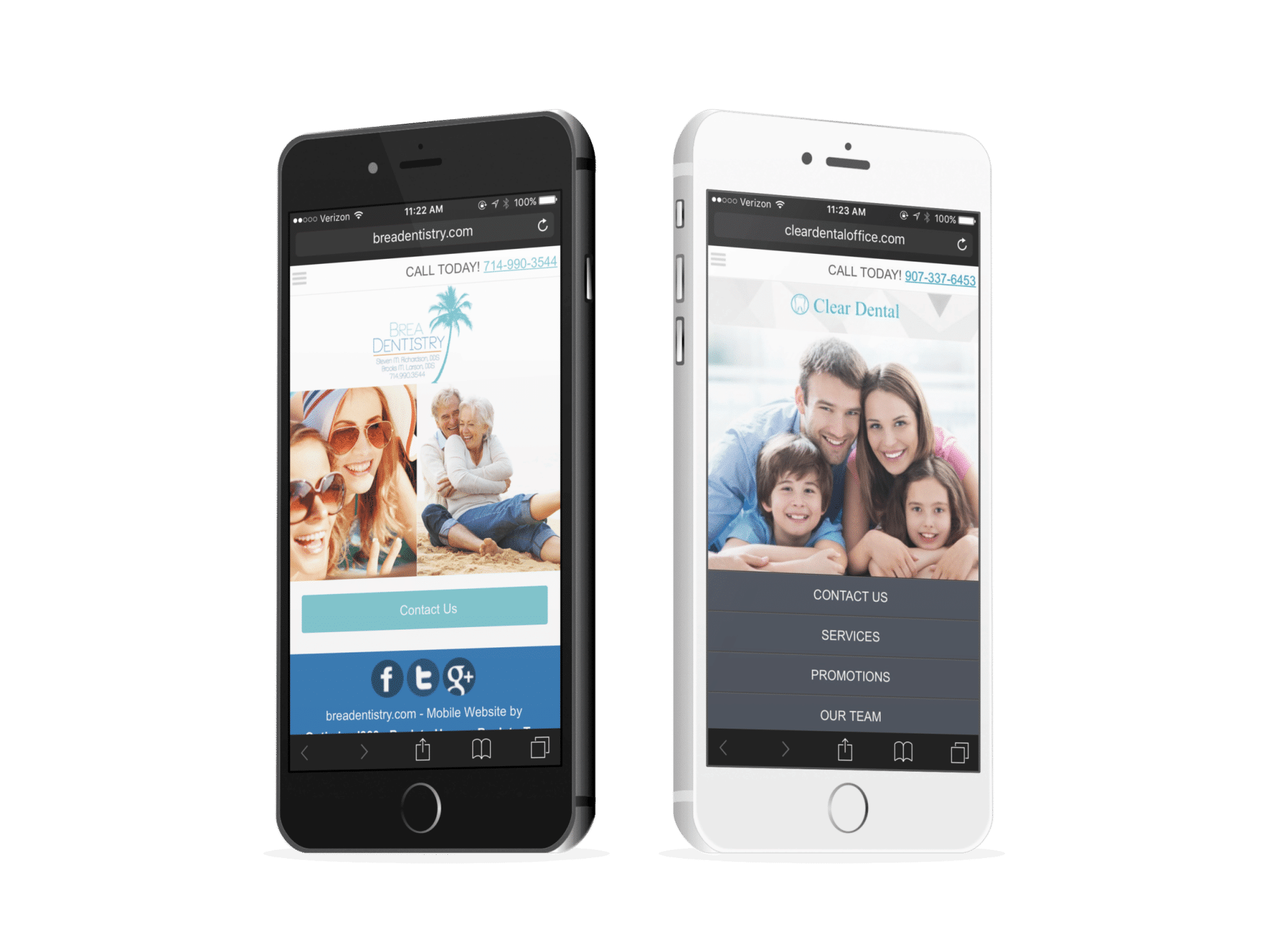 Family Dentistry And Cosmetic Dentist Mobile Websites On Two Iphones