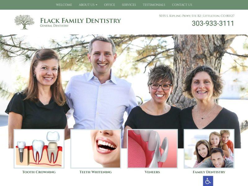Flack Family Dentistry Website Screenshot from url familydentistrylittleton.com