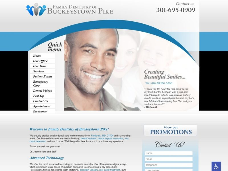 Family Dentistry Website Screenshot from url familydentistryofbuckeystownpike.com