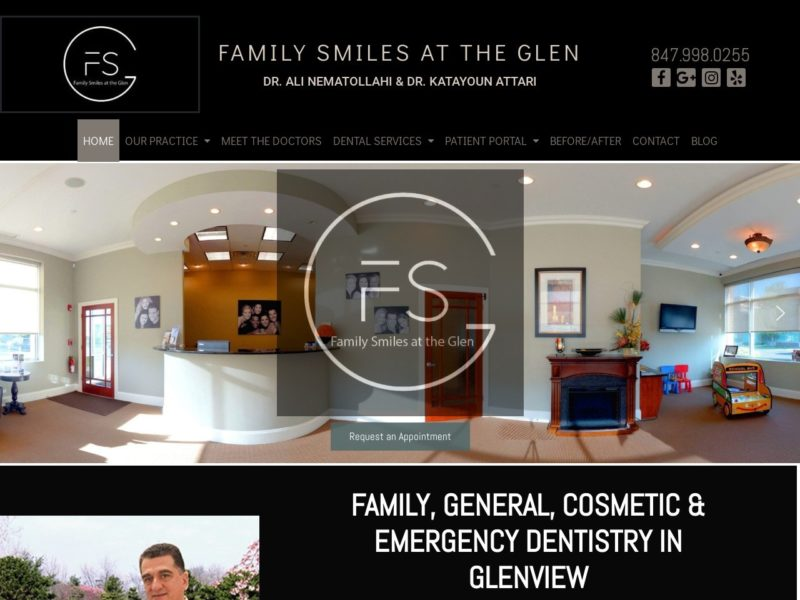 Glenview General Dentistry Website Screenshot from url familysmilesattheglen.com