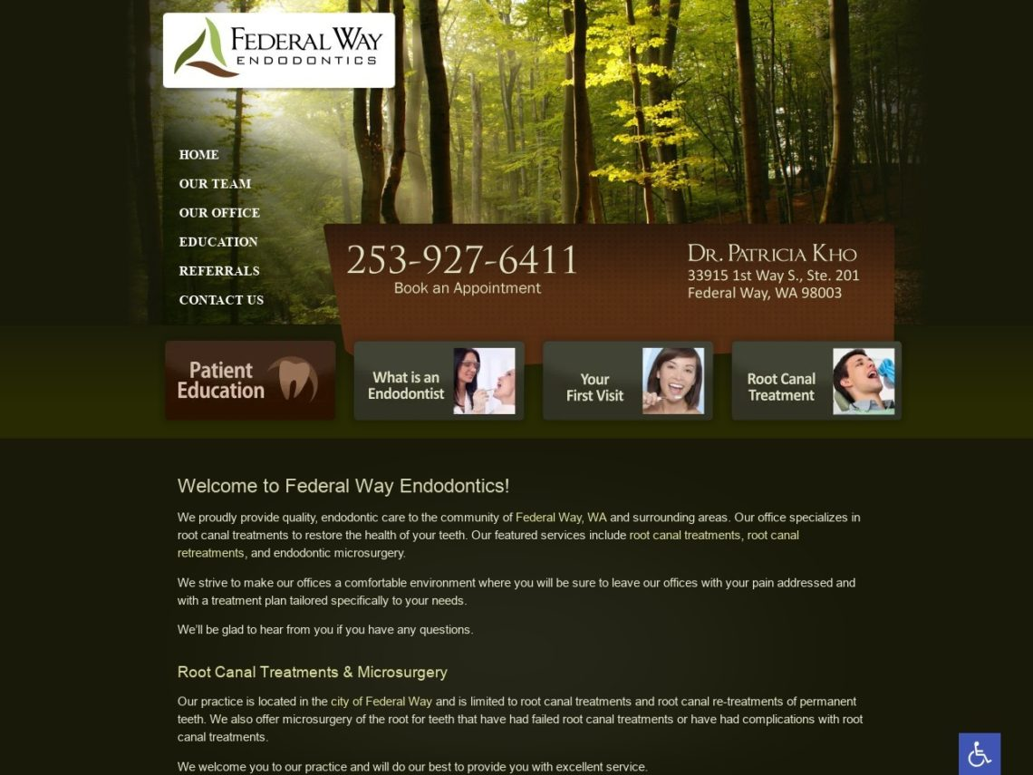Federal Way Endodontics Website Screenshot from url federalwayendodontics.com