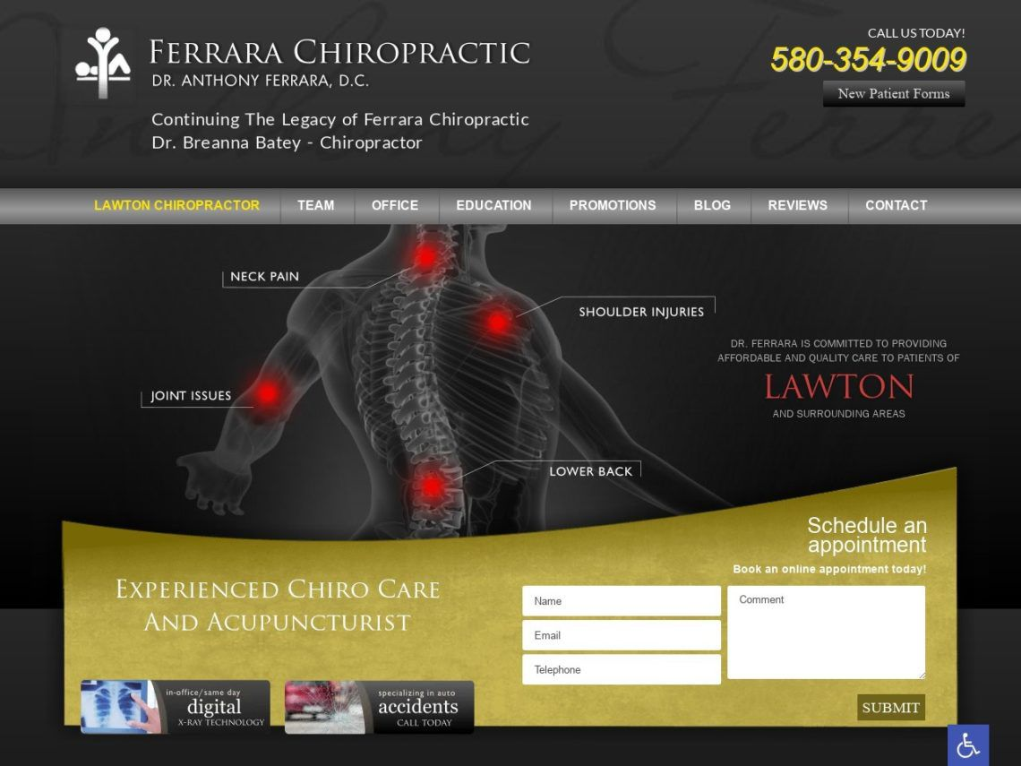 Ferrara Chiropractic Website Screenshot from url ferrarachiropracticclinic.com