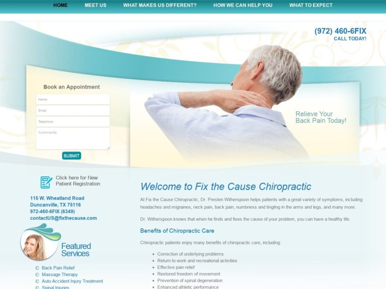 Fix The Cause Chiropractic Website Screenshot from url fixthecause.com