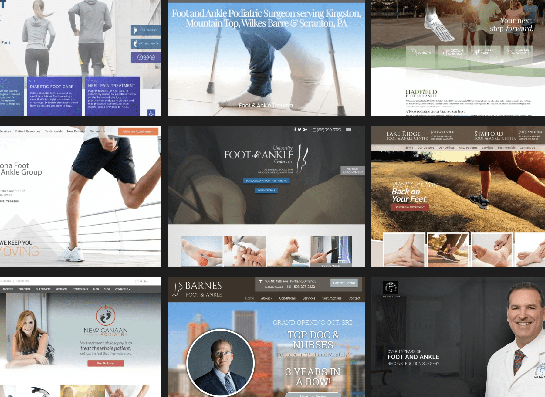 Foot And Ankle Specialists Colage Of Websites