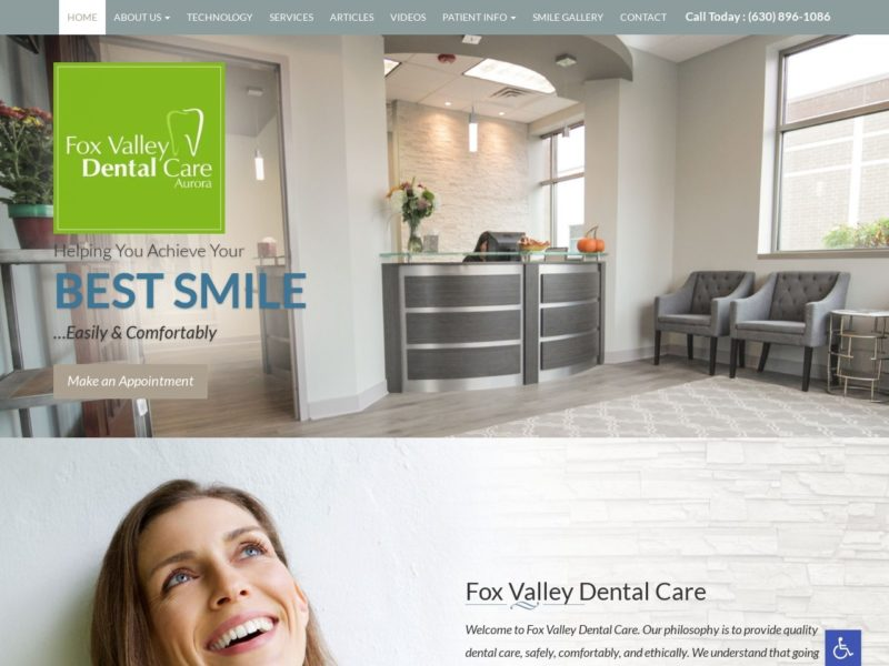 Fox Valley Dental Care Website Screenshot from url foxvalleydental.com