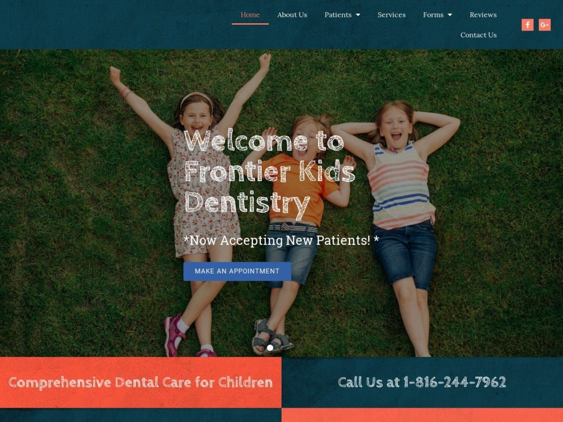 Frontier Kids Dentistry Website Screenshot from url frontierkidsdentistry.com