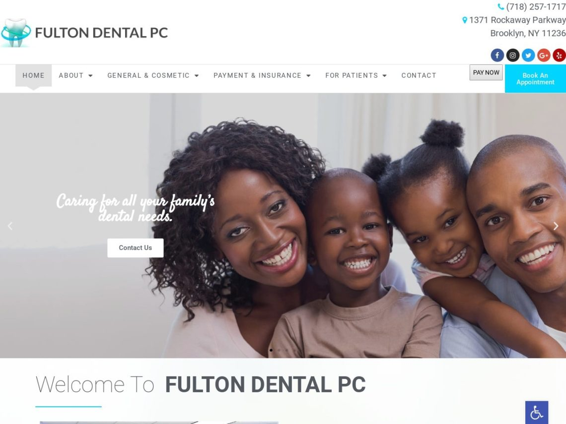 Brooklyn Cosmetic Dentistry Website Screenshot from url fultondentalpc.com