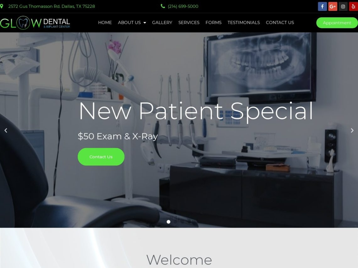 Glow Dental and Implants Website Screenshot from url glowdentaldallas.com