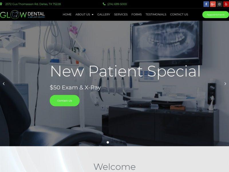 Glow Dental and Implants Website Screenshot from url glowdentaldallas.com