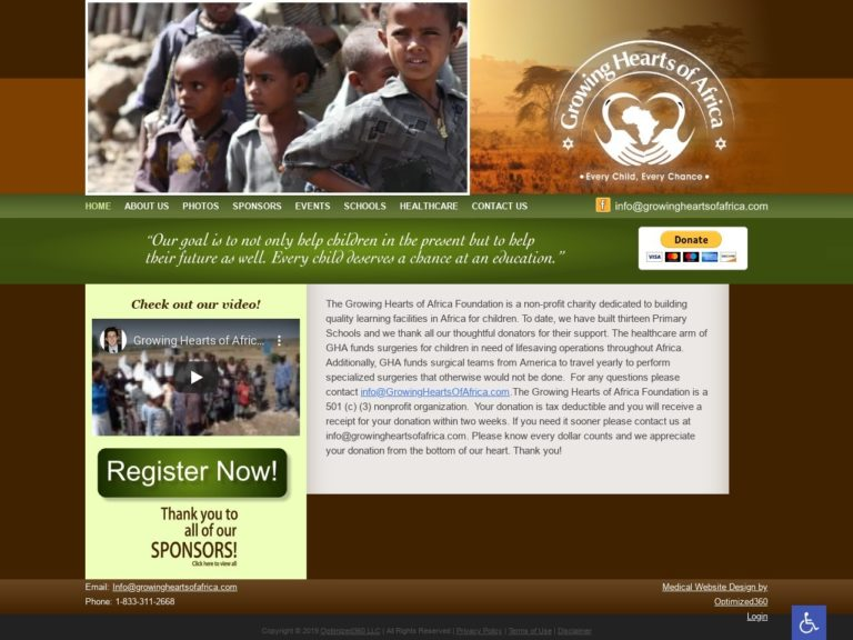 Growing Hearts Charity Website Screenshot from url growingheartsofafrica.com