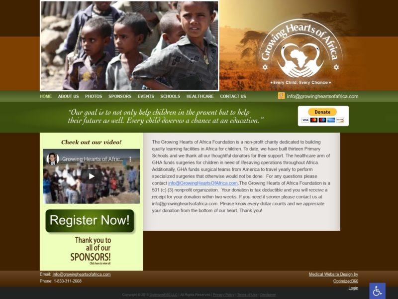 Growing Hearts Charity Website Screenshot from url growingheartsofafrica.com