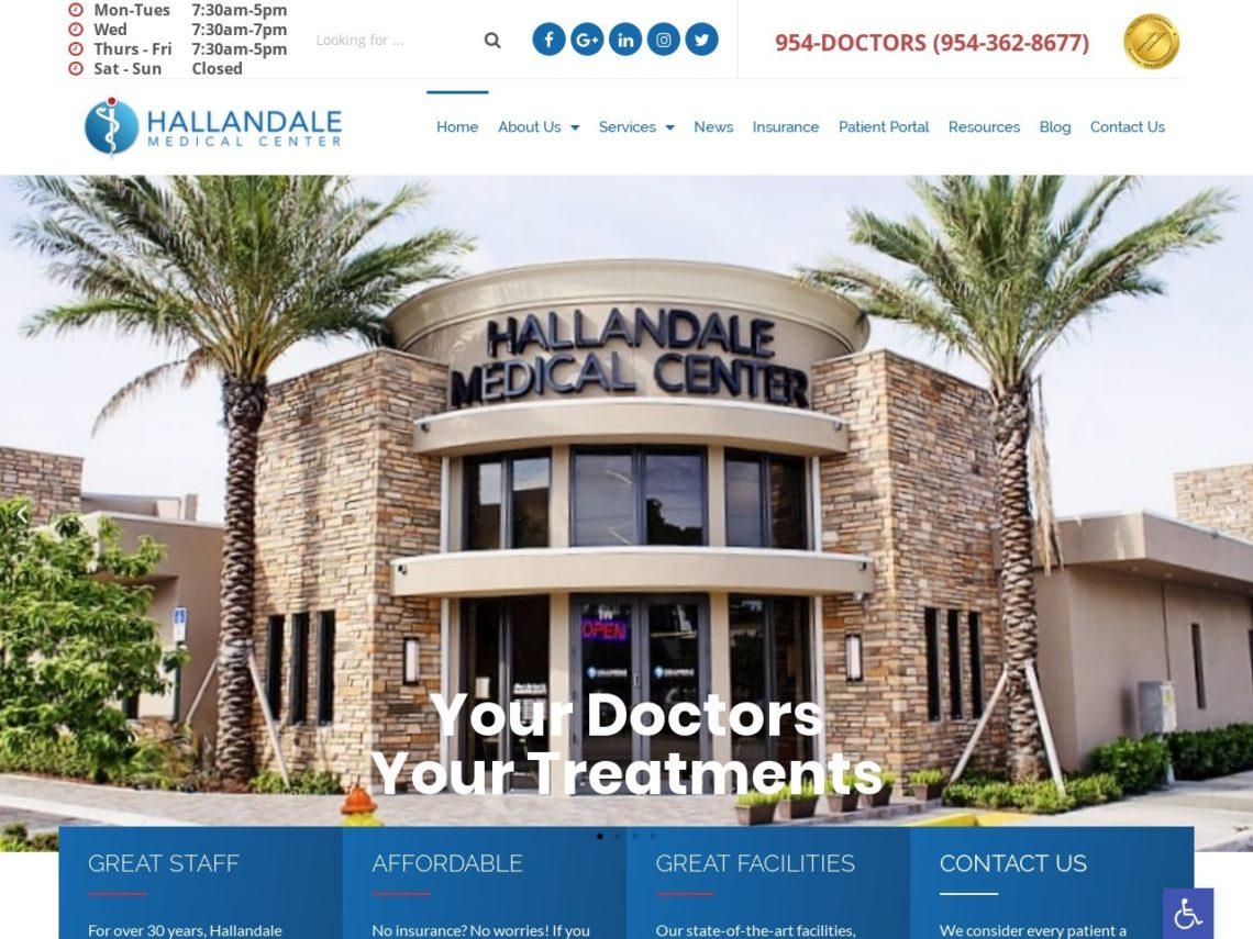 Hallandale Mental Health Website Screenshot from url hallandalemedicalcenter.com