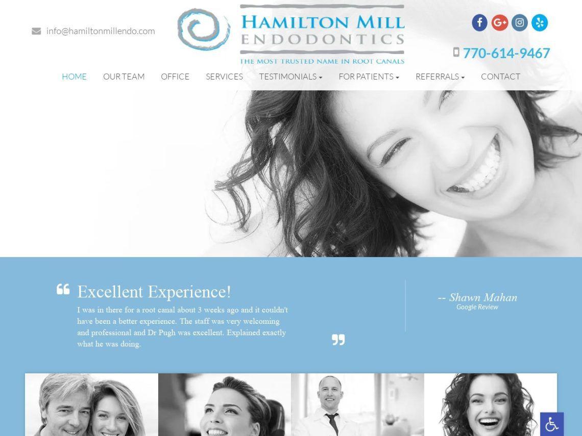 Hamilton Mill Endodontics Website Screenshot from url hamiltonmillendo.com