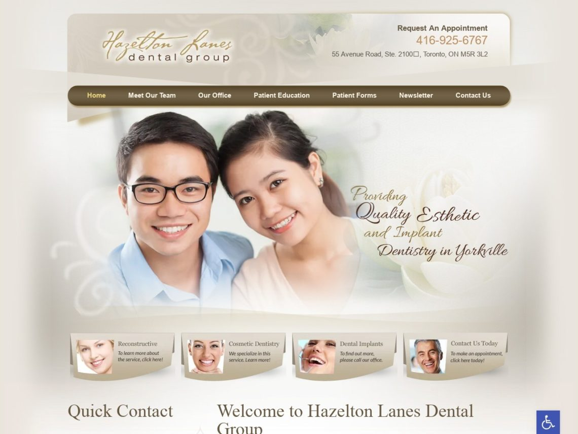 Hazelton Lanes Dental Group Website Screenshot from url hazeltonlanesdental.com