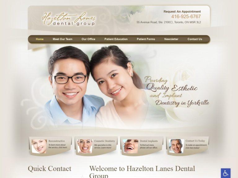 Hazelton Lanes Dental Group Website Screenshot from url hazeltonlanesdental.com