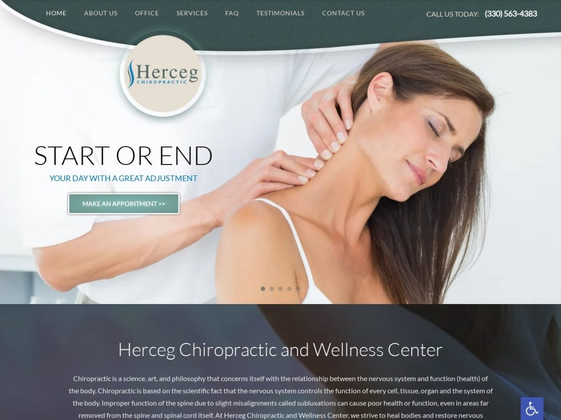 Herceg Chiropractic Website Screenshot from url hercegchiropractic.com