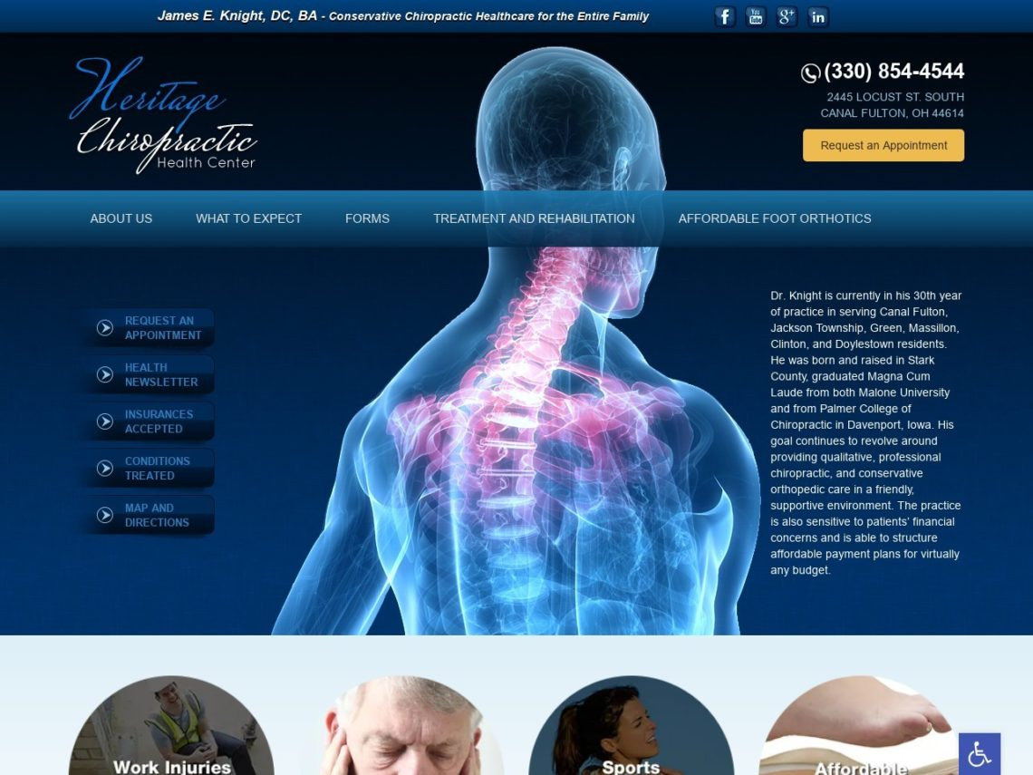 Heritage Chiropractic Health Website Screenshot from url heritagechirohealth.com