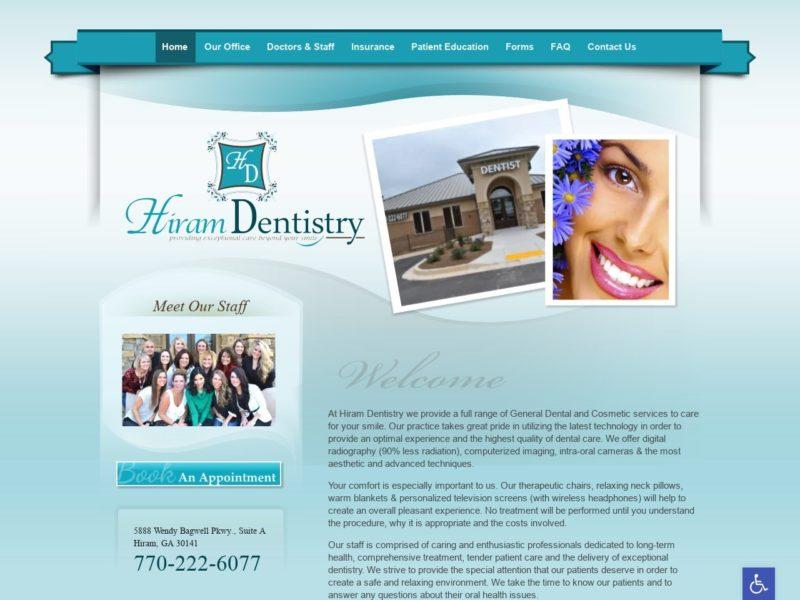Hiram Dentists Website Screenshot from url hiramdentistry.com