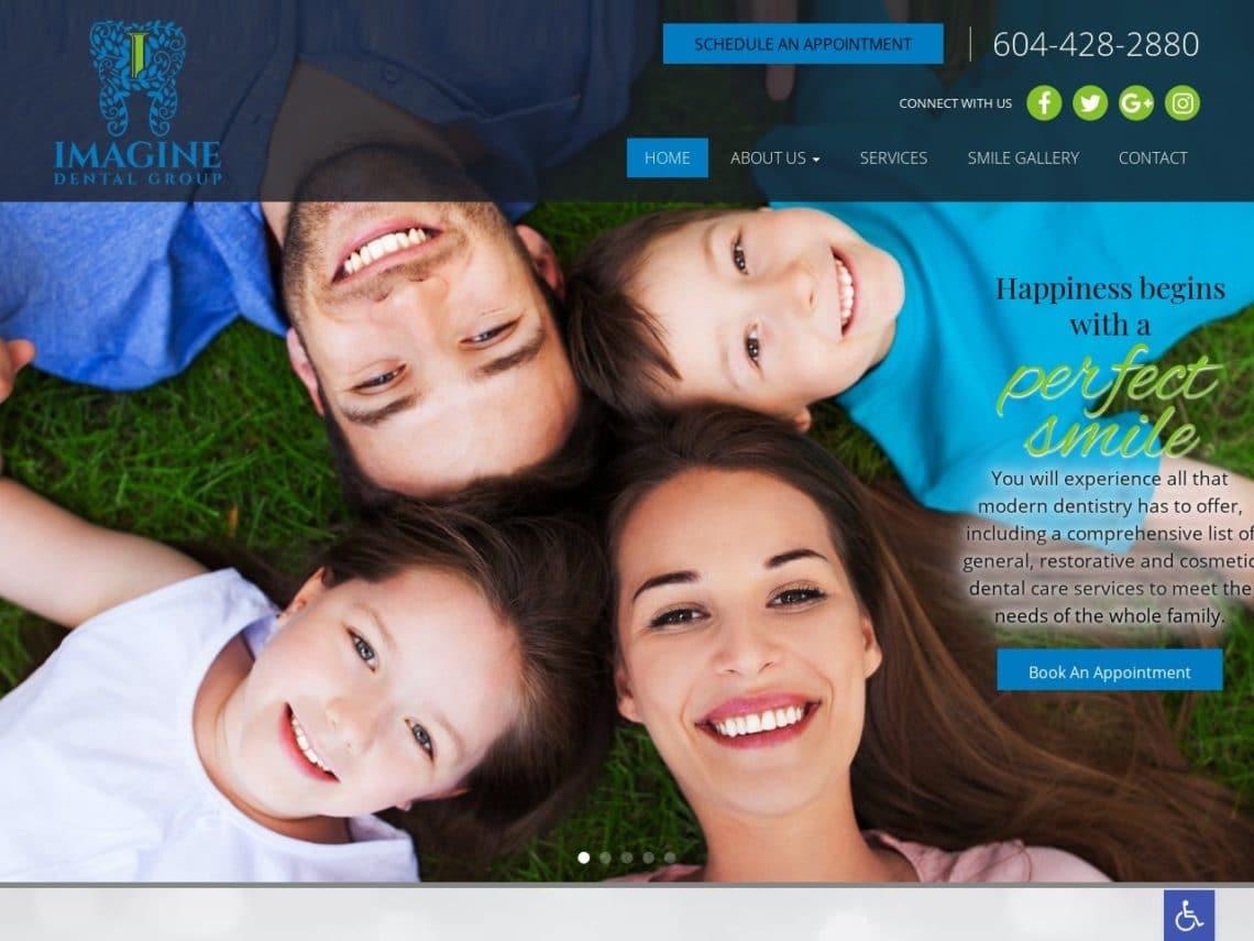 Imagine Dental Group Website Screenshot from url imaginedentalgroup.com