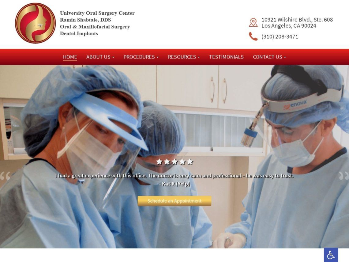 University Oral Surgery Website Screenshot from url implantsinla.com