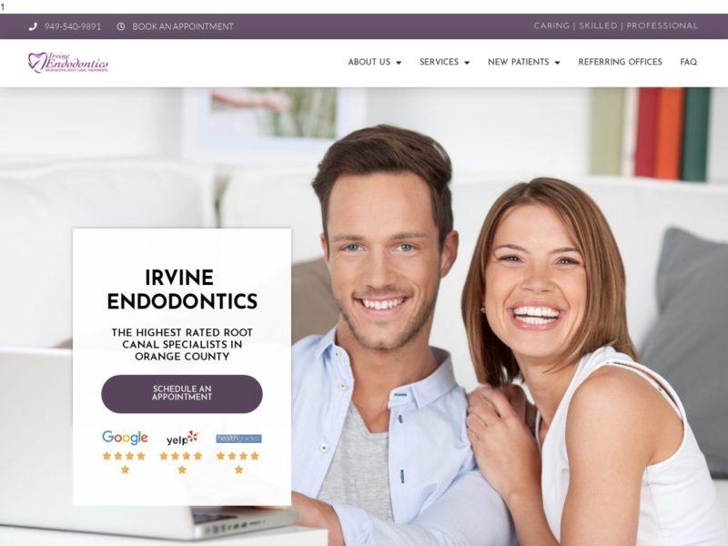 Irvine Endodontics Website Screenshot from url irvineendodontics.com