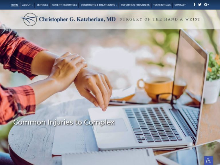 Irvine Hand & Wrist Surgeon Website Screenshot from url irvinehandwrist.com