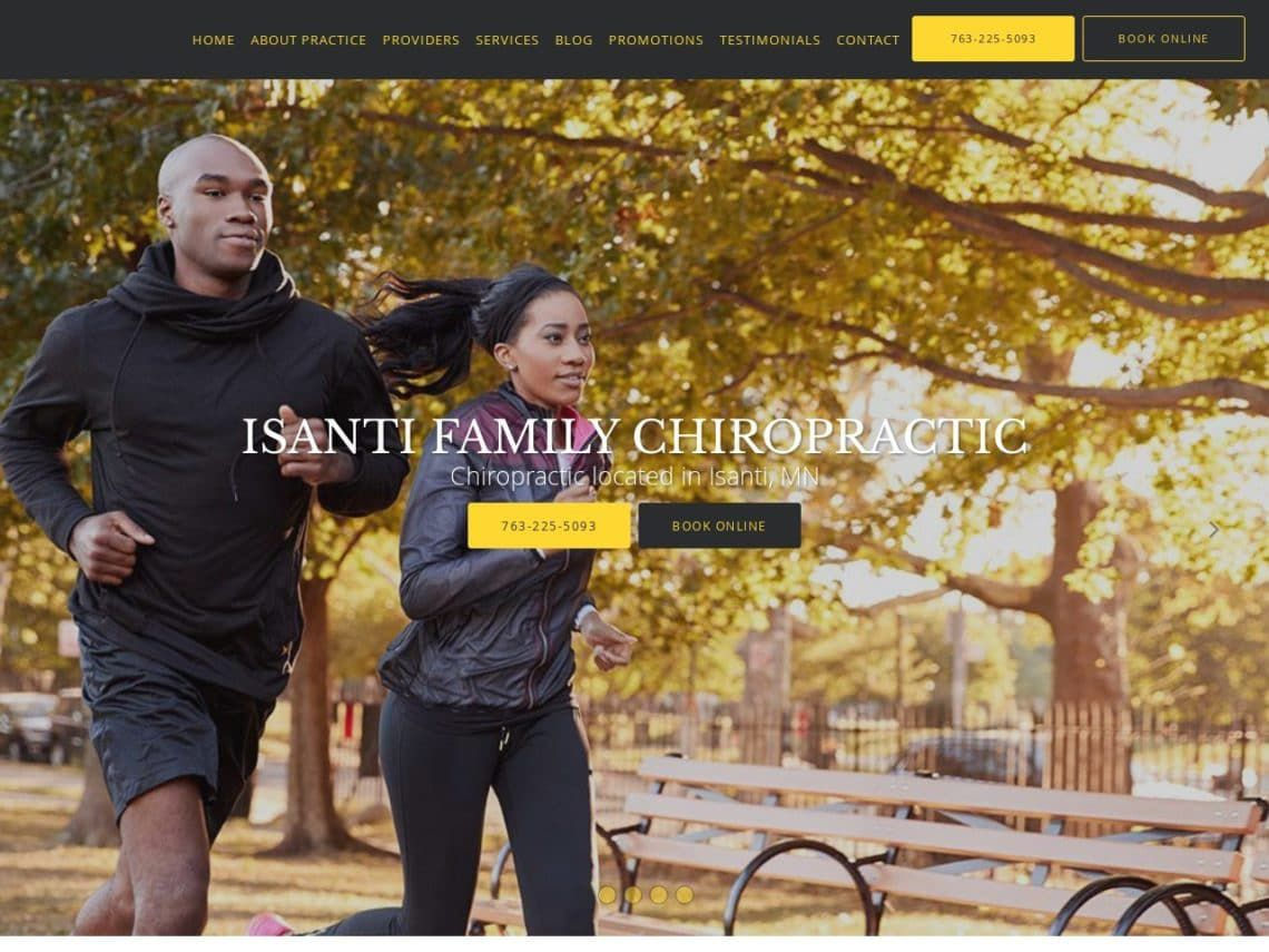 Isanti Family Chiropractic Website Screenshot from url isantifamilychiropractic.com