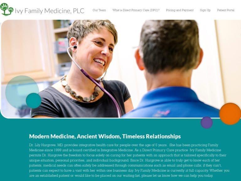 Ivy Family Medicine Website Screenshot from url ivyfamilymedicine.com