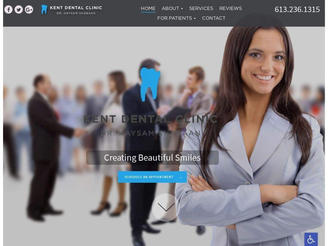 Kent Dental Clinic Website Screenshot from url kentdentalclinic.ca
