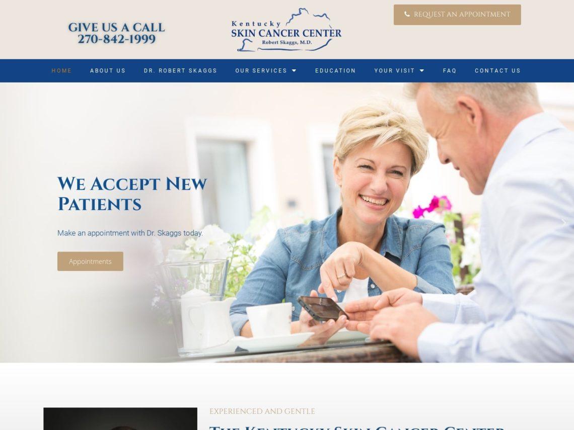Bowling Green Dermatologist Website Screenshot from url kentuckyskincancercenter.com