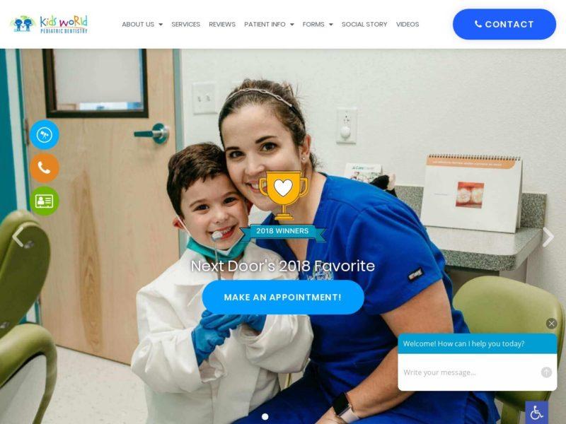 San Antonio Pediatric Dentistry Website Screenshot from url kidsworldpediatricdental.com